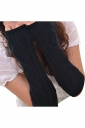 Womens Knitted Below Elbow Mitten Gloves Black