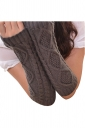 Womens Knitted Below Elbow Mitten Gloves Dark Gray