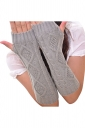 Womens Knitted Below Elbow Mitten Gloves Light Gray