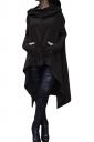 Womens Long Sleeve Asymmetric Hem Drawstring Hoodie Black