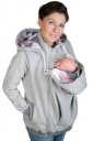 Womens Zip-up Multifuntional Baby Carrier Hoodie Light Gray