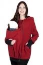 Womens Multifuntional Baby Carrier Long Sleeve Zip Up Hoodie Red