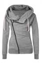 Womens Oblique Side Zipper Long Sleeve Plain Hoodie Gray