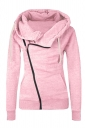 Womens Oblique Side Zipper Long Sleeve Plain Hoodie Pink