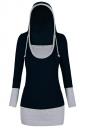 Womens Color Block Patchwork Long Sleeve Drawstring Hoodie Black