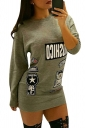 Womens Letter Printed Crewneck Long Sleeve Sweatshirt Army Green