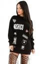 Womens Letter Printed Crewneck Long Sleeve Pullover Sweatshirt Black