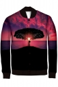 Womens Single-breasted Sunset Printed Long Sleeve Jacket Rose Red
