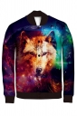Womens Single-breasted Wolf Printed Long Sleeve Jacket Purple