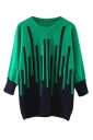 Womens Striped Patterned Long Sleeve Pullover Sweater Green