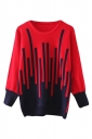 Womens Striped Patterned Long Sleeve Pullover Sweater Red