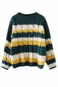 Womens Cable Knitted Color Block Long Sleeve Pullover Sweater Green