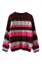 Womens Cable Knitted Color Block Long Sleeve Pullover Sweater Ruby