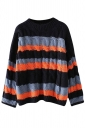 Womens Cable Knit Color Block Long Sleeve Pullover Sweater Navy Blue