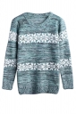 Womens Crewneck Snowflake Patterned Pullover Sweater Green