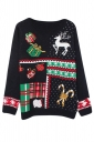 Womens Crewneck Christmas Gift Long Sleeve Pullover Sweater Black