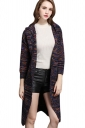 Womens Color Block Long Sleeve Hooded Cardigan Sweater Navy Blue