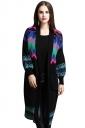 Womens Spectrum Curve Pattern Long Sleeve Midi Cardigan Sweater Black