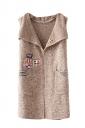 Womens Applique Pockets Sleeveless Cardigan Sweater Khaki