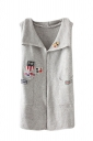 Womens Applique Pockets Sleeveless Cardigan Sweater Light Gray
