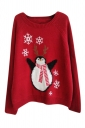 Womens Crewneck Cute Penguin Patterned Pullover Sweater Red