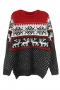 Womens Ugly Christmas Reindeer Patterned Pullover Sweater Dark Gray