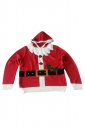 Womens Funny Ugly Christmas Santa Hooded Pullover Sweater Red
