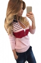 Womens Zipper Striped Patterned Long Sleeve Pullover Sweater Pink
