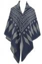 Womens Rhombus Patterned Warm Shawl Scarf Navy Blue