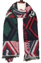 Womens Winter Rhombus Patterned Warm Scarf Red