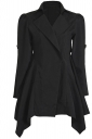 Womens Lapel Collar Tunic Irregular Hem Plain Trench Coat Black