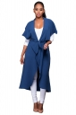 Womens Short Sleeve Long Plain Trench Coat with Sash Blue