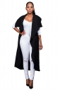 Womens Short Sleeve Long Plain Trench Coat with Sash Black