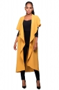 Womens Short Sleeve Long Plain Trench Coat with Sash Yellow