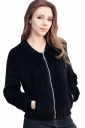 Womens Zip Up Long Sleeve Plain Bomber Jacket Black