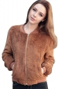 Womens Zip Up Long Sleeve Plain Bomber Jacket Brown