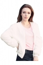 Womens Zip Up Long Sleeve Plain Bomber Jacket White