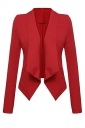 Womens Lapel Collar Long Sleeve Plain Blazer Red