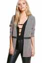 Womens Houndstooth Patterned Zipper Decor Long Sleeve Blazer Pink