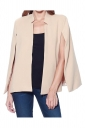 Womens Stand Collar Open Sleeve Slimming Cape Blazer Apricot