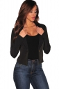 Womens Lapel Collar Lace-up Back Long Sleeve Plain Blazer Black