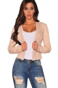 Womens Lapel Collar Lace-up Back Long Sleeve Plain Blazer Light Pink