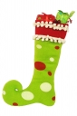 Womens Funny Polka Dot Christmas Decoration Stocking Green