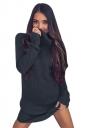 Womens Cowl Neck Long Sleeve Plain Pullover Sweater Dress Dark Gray
