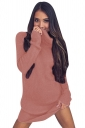 Womens Cowl Neck Long Sleeve Pullover Sweater Dress Watermelon Red
