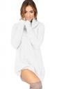 Womens Cowl Neck Long Sleeve Plain Pullover Sweater Dress White