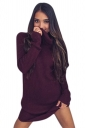 Womens Cowl Neck Long Sleeve Plain Pullover Sweater Dress Ruby