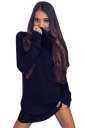 Womens Cowl Neck Long Sleeve Plain Pullover Sweater Dress Navy Blue