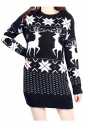 Womens Reindeer Patterned Long Sleeve Christmas Sweater Dress Black