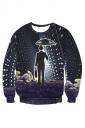 Womens Crewneck Imaginary Science Wonder Printed Sweatshirt Black